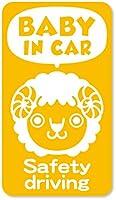 imoninn BABY in car ステッカー 【マグネットタイプ】 No.56 ヒツジさん (黄色)