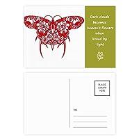 赤い中国凧蝶 詩のポストカードセットサンクスカード郵送側20個