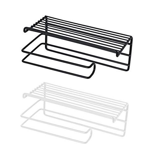GETZ Portarrollos para Papel Higiénico Adhesivo, Organizador de Almacenamiento de Montaje en Pared para Baño, Estante Multiusos, Diseño de Alambre de Metal Duradero, Negro/Blanco