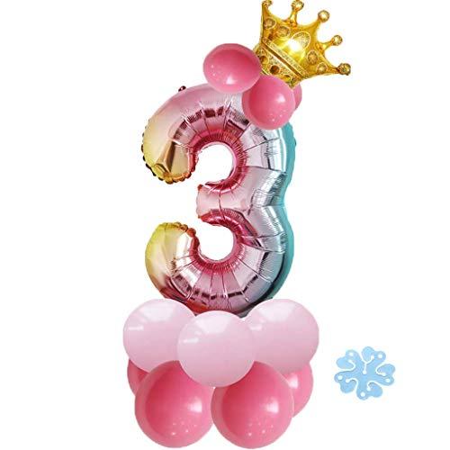 SNOWZAN 17pcs Luftballon 3.Geburtstag Rosa Mädchen 3Jahr Happy Birthday 3 Folienballon Nummer Zahl 3 Riesen Bunt Folienballon Zahlen Luftballon3.Regenbogen Ballon krone Helium Ballon Baby Dusche Party