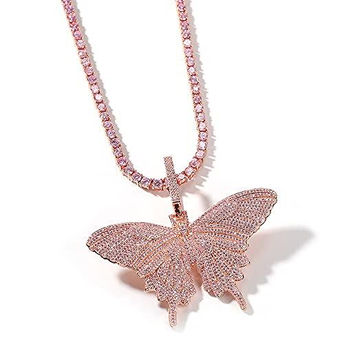 Collar con colgante de mariposa grande de hip hop, chapado en oro de 18 quilates, collar con colgante de mariposa rosa de diamante simulado completamente CZ con cadena de tenis