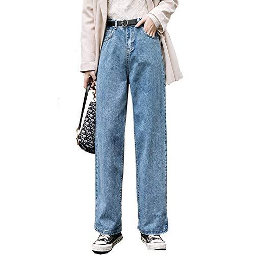 Jeans Donna Vita Alta Vestiti Gamba Larga Denim Abbigliamento Blu Streetwear Vintage - blu - M
