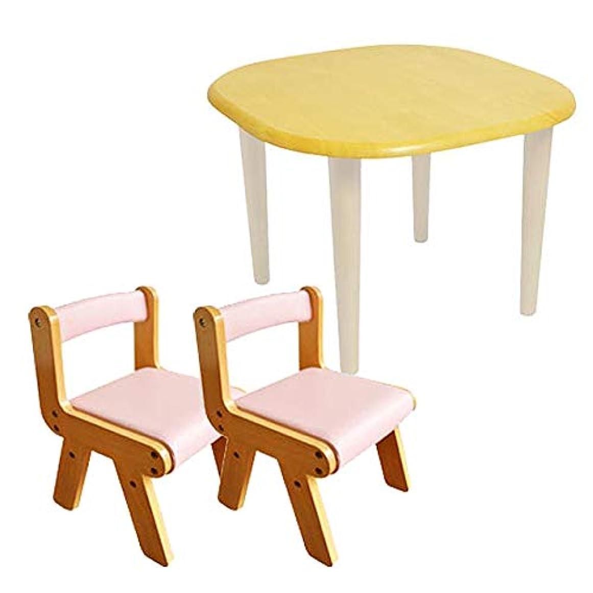 薬を飲む探検吸収剤Kidzoo(キッズーシリーズ)キッズテーブル&肘なしチェア2脚 計3点セット (ピンク)