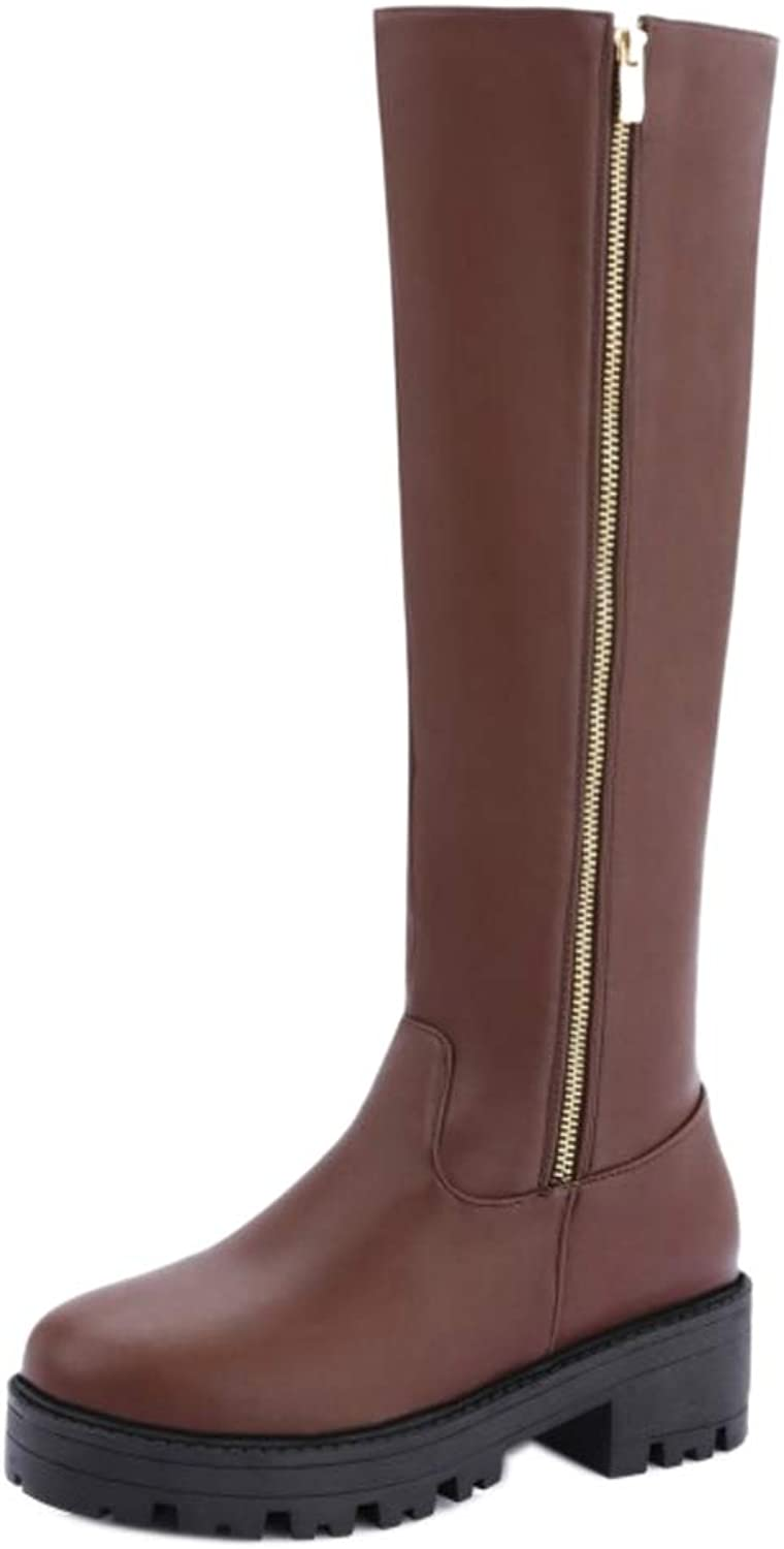 CarziCuzin Women Knee Boots Zipper