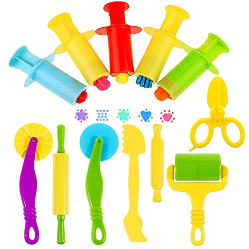 Oun Nana Play Dough Tools Kit with Dough Extruders, Dough Scissors, Playdough Rollers and Cutters, 12 pcs Plastic Playdough Tools for Kids(Random Color)