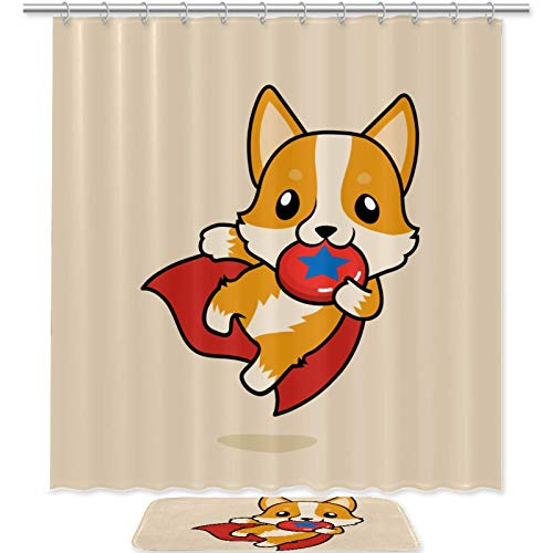 imobaby Shower Curtain Rug Set Super Welsh Corgi Dog Playing Flying Disc Waterproof Bath Curtain with Non Slip Bathroom Rug Mat