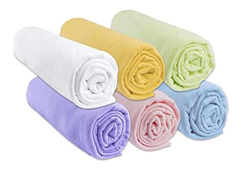 Lot de 6 Draps Housse bébé Coton Jersey 60x120 cm | Coloris Mixte | Marque Easy Dort | pour Berceau ou lit Enfant 60 x 120 cm | Oeko Tex | Sommeil sain | Facile d'entretien | Age 0 - 4 Ans