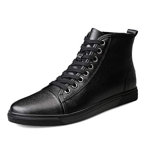 PULLEY -C - Botas de tobillo para hombre de moda ocasionales y cómodos de forro polar interior alturas (convencional opcional) C (color: negro, talla: 43 EU)