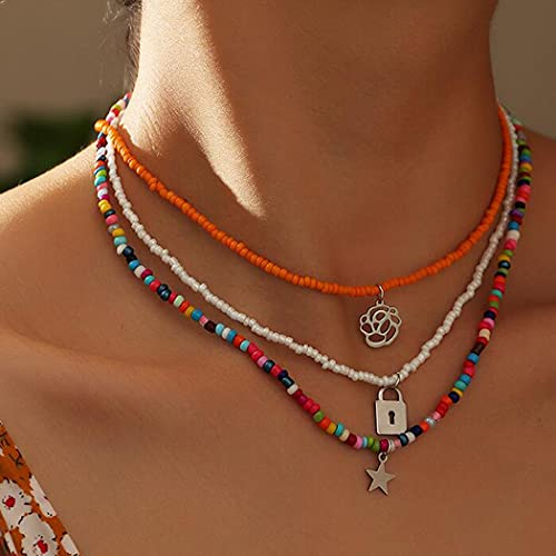 Aukmla Gargantilla de flores bohemias con colgante de estrella de plata, collar de cuentas coloridas, accesorios de joyería para mujeres y niñas