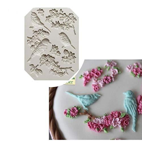Lankater Oiseau Forme de Fleur de Moule en Silicone Fondant Chocolat Sugarcraft gâteau Outils de décoration