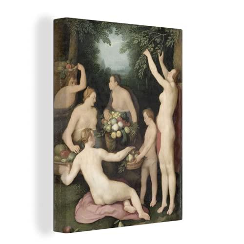 MuchoWow Photo sur toile - Pomona reçoit la récolte de fruits - Peinture de Cornelis Cornelisz. van Haarlem - 60x80 cm - Avec Cadre