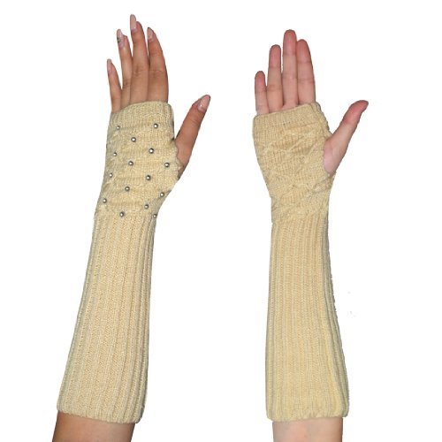 Womens Winter Long Ribbed Cable Knit Fingerless Gloves / Hand Warmers with Rhinestones - Beige