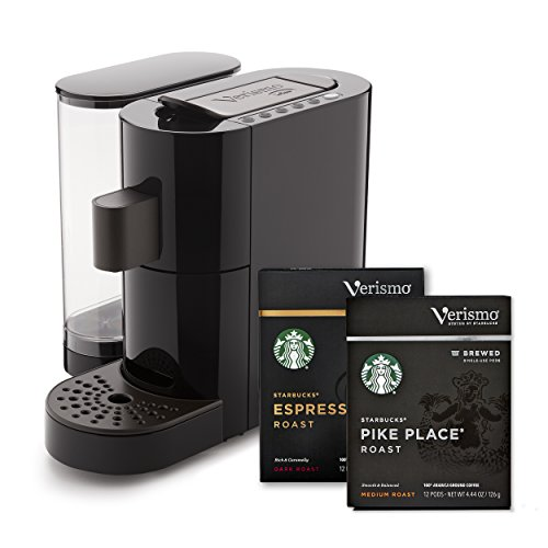 Starbucks Verismo Coffee and Espresso Single Serve Brewer + case of Pike Place Roast brewed coffee pods (72ct) + case of Espresso Roast Single Serve Verismo Pods (72ct) (ship separately)