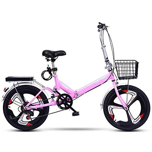 ZHIFENGLIU Bicicleta Plegable, Neutral Scooter Mini Velocidad Variable, Aleación De Aluminio De 20 Pulgadas, Fácil De Transportar, Conveniente para El Trabajo, La Escuela Y Los Viajes,Rosado