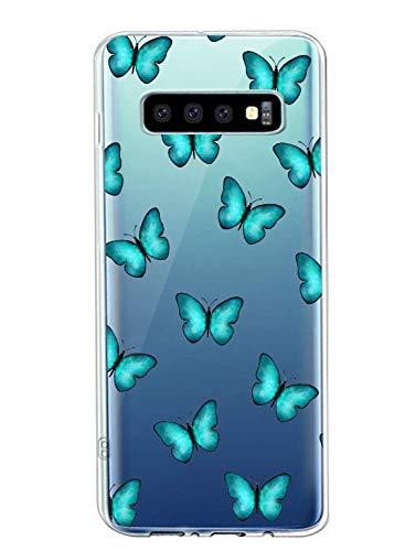 Oihxse Silicone Transparente Case avec Motif Papillon Compatible pour Samsung Galaxy S6 Coque Souple TPU Gel Mode 3D Dessin Étui Ultra Mince Antichoc Anti-Rayures Protection Cover,Bleu 1