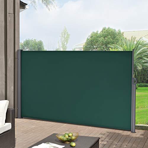 Toldo Lateral 180 x 300 cm Exterior contra Viento, Sol y visión Extensible Marquesina Protectora Verde Oscuro