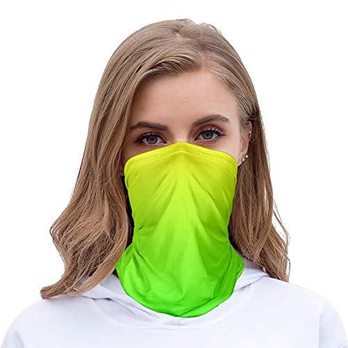 Beydodo Bandana Sportif Foulards de Randonnée Homme Couleur Dégradée Vert Jaune Bandeau Multifonction Polyester Femme pour Sports de Plein air