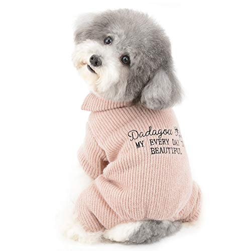 Ranphy Kleiner Hundepullover Mädchen Junge Welpe Winterkleidung Strickmantel Dickes Vlies Gefüttert Warm Rollkragenpullover für Kaltes Wetter Pjs Haustierbekleidung Rosa L