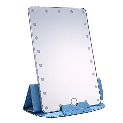 Espejos de Mesa Espejo De Maquillaje De Escritorio, 21 Piezas De Pantalla Táctil LED, Lámpara Cosmética, Espejo + Cubierta De Espejo, Carga USB De Plata