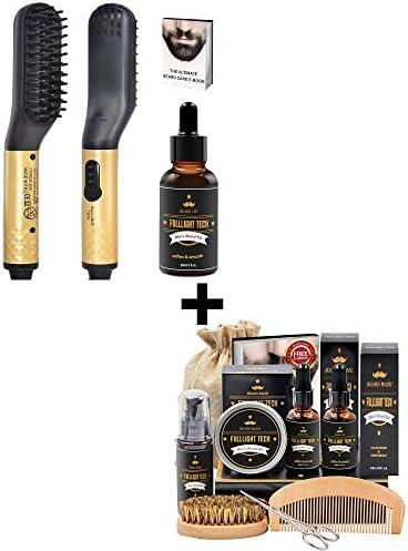 Best Value Beard Kit for Men Grooming Care and MINI Beard Hair Straightener Brush with Oil Kit product image
