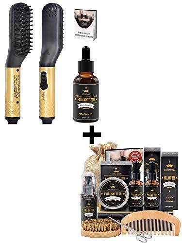 Best Value Beard Kit for Men Grooming & Care and MINI Beard Hair Straightener Brush with Oil Kit Bundle