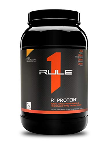 Rule One Proteins, R1 Protein - Lightly Salted Caramel, 25g Fast-Acting, Super-Pure 100% Isolate and Hydrolysate Protein Powder with 6g BCAAs for Muscle Growth and Recovery, 2.5 Pounds, 38 Servings