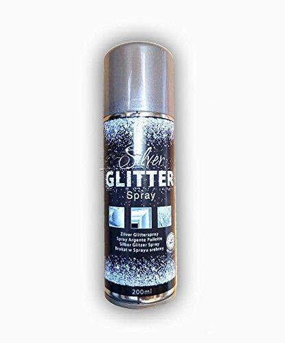 200 ml Hochwertiger Glitzerspray mit silbernem Glimmer-Effekt. Gleichmäßiger, extra feiner Sprühnebel verleiht Oberflächen Glitter-Brillanz