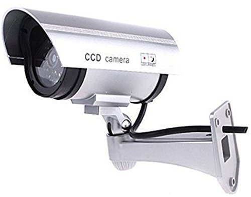 HOSL 2 Pack Outdoor Fake, Dummy Security Camera with Blinking Light (Silver)