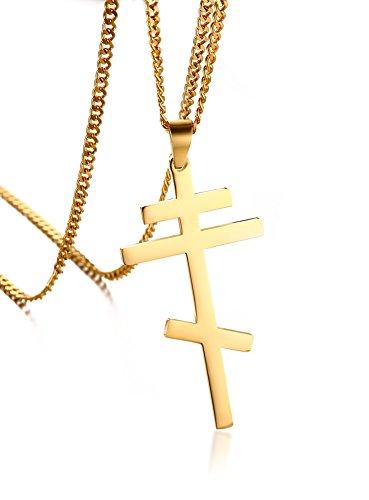 VNOX Männer Frauen Edelstahl Russisch Orthodoxe Kreuz Anhänger Halskette Byzantinische Reich Gold,freie kubanische Kette