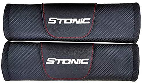 QUXING 2 Piezas Carbono Coche Almohadillas, para Kia Stonic Cinturón De Seguridad...
