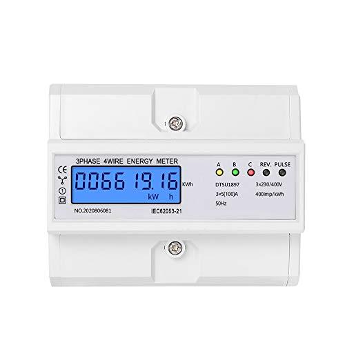 OrangeClub LCD Digitaler Drehstromzähler Stromzähler 3-Phasen-4-Draht 5-100A Geeicht Für DIN Hutschiene Für Gebäudetechnik Energy-Management-Systeme Industrie(Style ⑤)