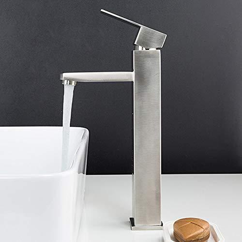 FANLLOOD Wasserhahn Waschbecken Wasserhahn Black Square Waschbecken Wasserhahn Wasserhahn Edelstahl Bad Wasserhahn Deck montiert Waschtischarmatur, Y10171,1