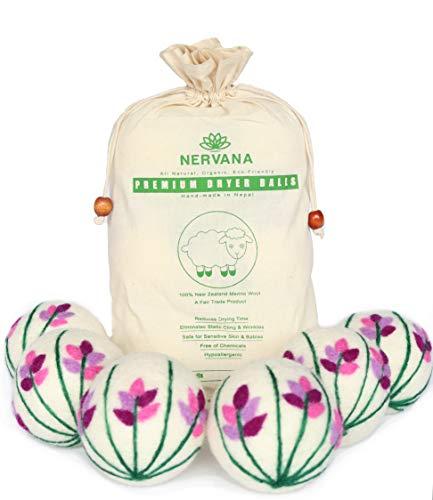Organic Wool Dryer Balls - Lavender 6 XL Premium Quality Reusable Natural Fabric Softener, 100% Hand Made, New Zealand Merino Wool, Bunch of Lavender, Fair-Trade