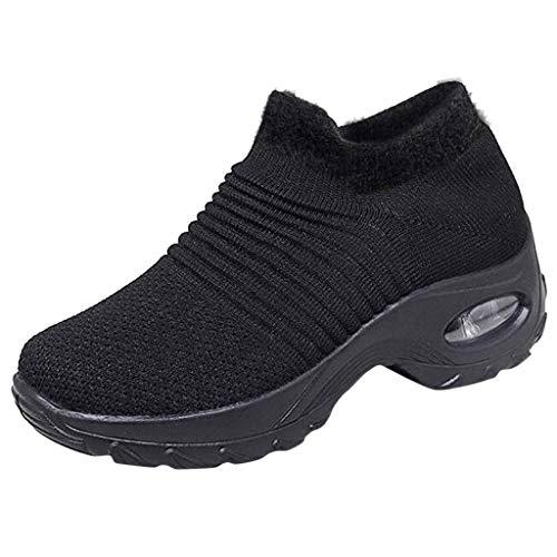 Xmiral Damen Wanderschuhe Socken Turnschuhe - Mesh Slip On Luftkissen Mädchen Moderner Tanz Schuhe Platform Loafers (42,Schwarz)