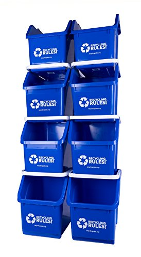- 6 Gallon Blue Stackable Recycling Bin with handle - 8 Pack (that