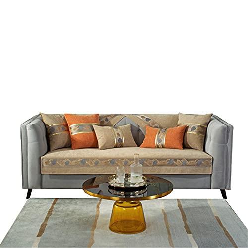 Funda de sofá de Color sólido con Hojas de Chenilla,Cuero reclinable en Forma de L,Funda de Respaldo para apoyabrazos,Funda de sofá,Camel,90 * 90cm