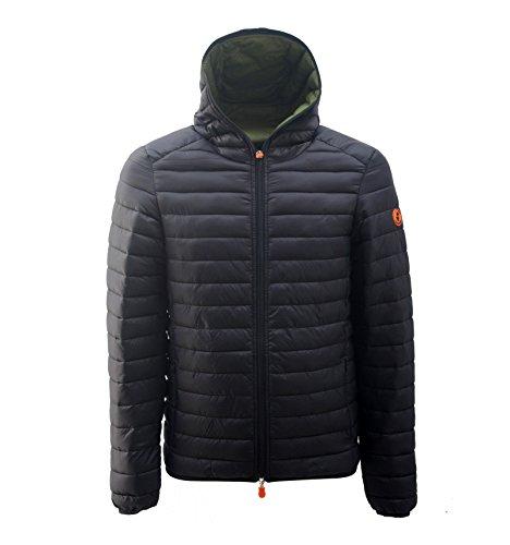 Sla de eend mannen capuchon jas in zwart stof D3065M-GIGA6-00001