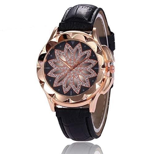 VOUNEDA Reloj de cuarzo para mujer, reloj de cuarzo analógico clásico para mujer, reloj de pulsera de cuarzo con incrustaciones de diamantes de imitación de lujo con correa de cuero y cuarzo