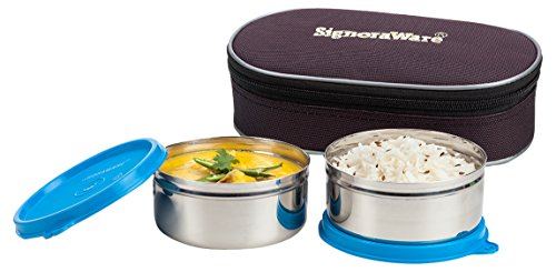 Signoraware Midday Max Fresh Stainless Steel Lunch Box Set, 350ml, Set of 2, Blue