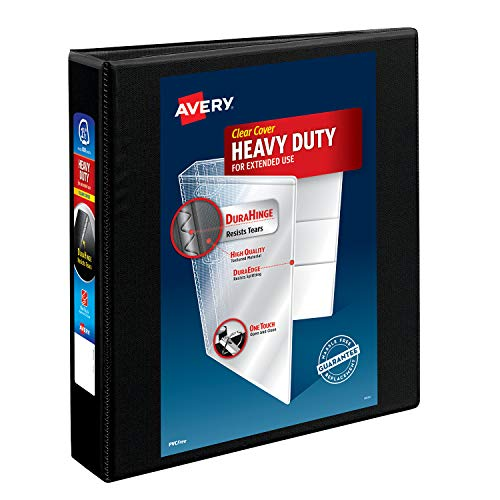 Avery Heavy-Duty View 3 Ring Binder, 1.5 One Touch Slant Rings, Holds 8.5 x 11 Paper, 1 Black Binder (05400)