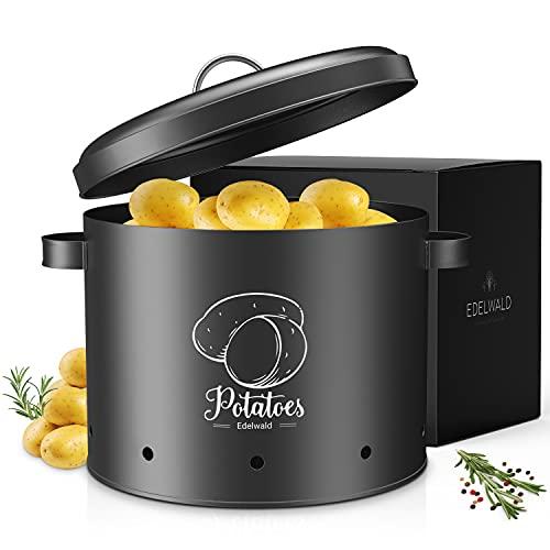Edelwald - Kartoffeltopf mit Deckel - Hält Deine Kartoffeln länger frisch und überzeugt durch hochwertige Qualität - Kartoffel Aufbewahrung - Schwarz - 22x19cm
