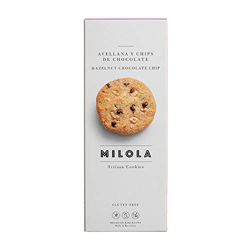 MILOLA Galletas Gluten Free. Pack 6 Cajas de 140gr - Sin Gluten, Sin Lácteos, Sin Aceite de Palma (HAZELNUT + CHOCO XIPS)
