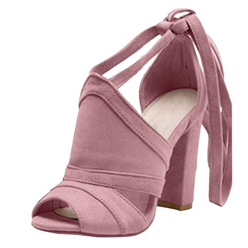Sandalias De Tacón Cuadrado para Mujer Zapatos De Tacón Alto De Verano Zapatos De Punta Abierta Fiesta De Vacaciones Casual Correa De Tobillo Femme Bombas con Cordones