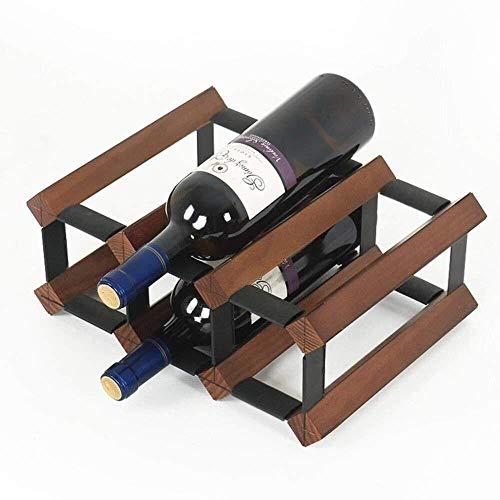 Estantería de vino Estante del vino, decoración de la mesa 6 botellas de vino bastidores, soporte for botellas de madera independiente for la barra / biblioteca / cocina, blanco estante de vino pequeñ
