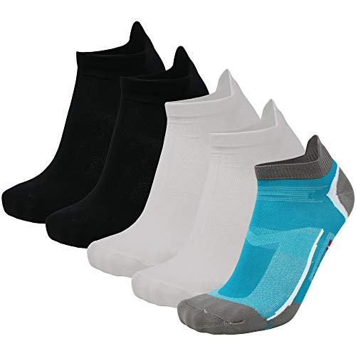 DANISH ENDURANCE Low-Cut Sportsocken (Mehrfarbig (1 x Karibik Blau/Grau, 2 x Schwarz, 2 x Weiß) - 5 Paare, EU 43-47)