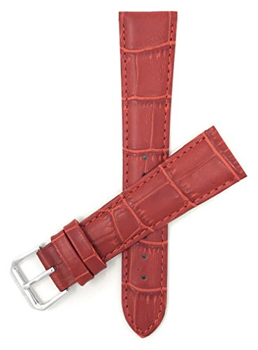 Leder Uhrenarmband 12mm für Damen, Rot, Alligatormuster, auch verfügbar in weiß, blau, orange, rosa, dunkelgrün