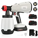 Anbull Cordless Paint Sprayer Gun Electric with 2X Battery 800w24V,1000ml Li Battery Wireless Spray Gun for Indoor & Outdoor Paint Spraying, Watering. (1.8 &2.6mm, 3 Spraying Modes)