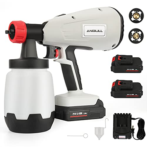 Anbull Cordless Paint Sprayer Gun Electric with 2X Battery 800w21V,1000ml Li Battery Wireless Spray Gun for Indoor & Outdoor Paint Spraying, Watering. (1.8 &2.6mm, 3 Spraying Modes)