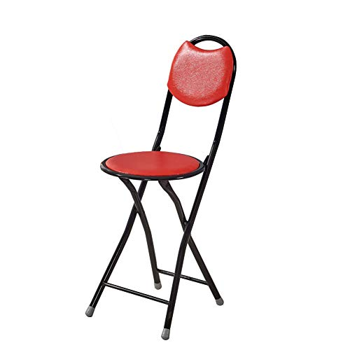 Portable Folding Stool for Women Men Folding 350lbs Cane Seat Chair Four-Foot Stable for Elders with PU Soft Back Support (1 Piece)