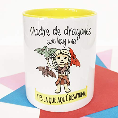 La Mente es Maravillosa - Taza con Frase y dibujo. Regalo original y gracioso (Madre de dragones solo hay una y es la que aquí desayuna) Taza Serie Juego de Trons